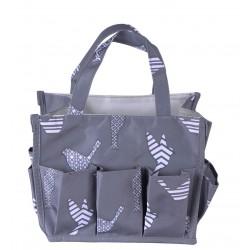 NHY009-26-Grey Fashion Grey White Bird Pattern Caddy ,Bingo Bag, Diaper bag  Cosmetic Organizer Tote Bag