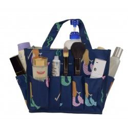NHY009-29-BL Fashion Blue bakcground Multi Mermaid Pattern Caddy ,Bingo Bag, Diaper bag  Cosmetic Organizer Tote Bag