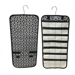 NJ-17-BW Black White Twist Pattern Hanging and Folding Jewelry Bag