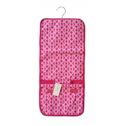 NJ-17-P Pink White Twist Pattern Hanging and Folding Jewelry Bag