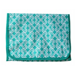 NJ-17-TO Turquoise White Twist Pattern Hanging and Folding Jewelry Bag