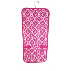 NJ-18-P Pink White Geometric Pattern Hanging and Folding Jewelry Bag