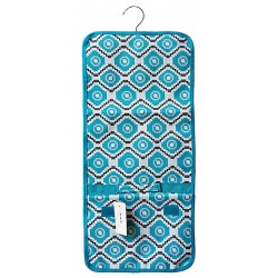 NJ-18-TG Grey Blue Geometric Pattern Hanging and Folding Jewelry Bag