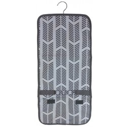 NJ-22-Grey Grey White Arrow Pattern Hanging and Folding Jewelry Bag