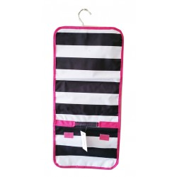 NJ-23-BW-P Black White With Pink Trim Stripe Pattern Hanging and Folding Jewelry Bag