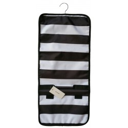 NJ-23-BW Black White Stripe Pattern Hanging and Folding Jewelry Bag