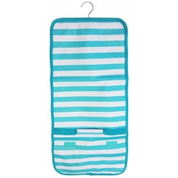 NJ-23-TO Turquoise White Stripe Pattern Hanging and Folding Jewelry Bag