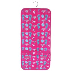 NJ-32-P Pink Seahorse Pattern Hanging and Folding Jewelry Bag
