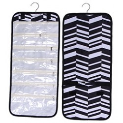 NJ-36-YB Black White Geometric Pattern Hanging and Folding Jewelry Bag