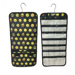 NJ-50-B Black Emoji Pattern Hanging and Folding Jewelry Bag