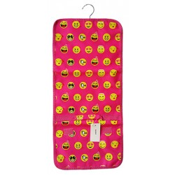 NJ-50-P Pink Emoji Pattern Hanging and Folding Jewelry Bag