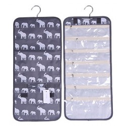 NJ-E-GW Grey White Elephant Pattern Hanging and Folding Jewelry Bag