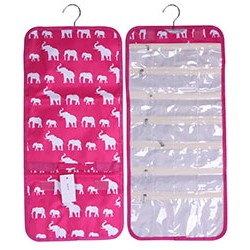 NJ-E-P Pink White Elephant Pattern Hanging and Folding Jewelry Bag