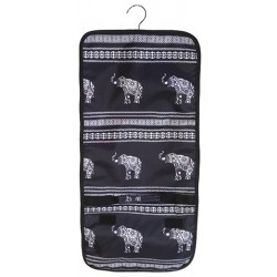 NJ-ELE-BW Black White Elephant Luck Pattern Hanging and Folding Jewelry Bag