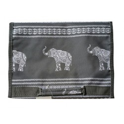 NJ-ELE-GW Grey White Elephant Luck Pattern Hanging and Folding Jewelry Bag