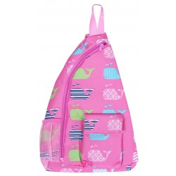 NMB-27-P Pink white whale Pattern one shoulder Sling back ,travel backpack .