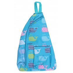 NMB-27-TO Turquoise Whale pattern one shoulder Sling back ,travel backpack .