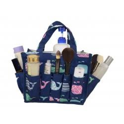 NHY009-27-BL Fashion Blue bakcground Multi Whale Pattern Caddy ,Bingo Bag, Diaper bag  Cosmetic Organizer Tote Bag