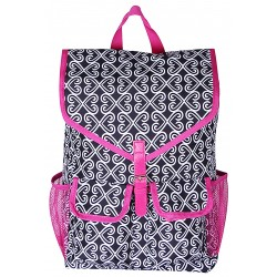 "NTP1-17-BW-P best backpack 18"" Black white With Pink TrimTrendy Twist Backpack"