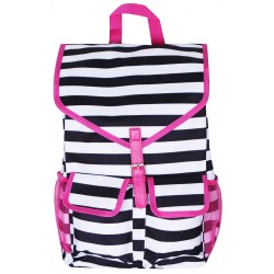 "NTP1-23-BW-P best backpack 18"" Black White With Pink Trim Trendy Stripe Backpack"