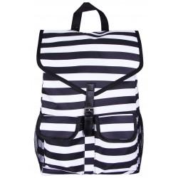 "NTP1-23-BW best backpack 18"" Black white Trendy Stripe Backpack"