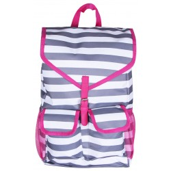 "NTP1-23-GREY-P best backpack 18"" Grey White With Pink Trim Trendy Stripe Backpack"