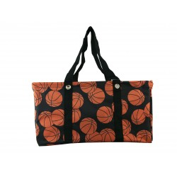 NU-32 Collapsible Wire Frame Brown background Basketball Pattern Trunk Organizer market bags,  Large  Rectangular Utility  Bag, Organizer, Laundry Bag.