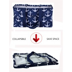 NU-A-NW Collapsible Wire Frame Blue background Anchor Pattern Trunk Organizer market bags,  Large  Rectangular Utility  Bag, Organizer, Laundry Bag.