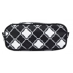 P1-15-BW Pencil Case Pink Small Quatrofoil Pattern
