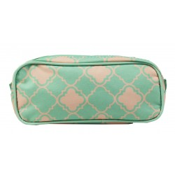 P1-15-TO Pencil Case Turquoise Pink Small Quatrofoil Pattern