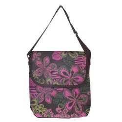 Tropical Flowers Print Laptop Carry Bag-Pink / Green / Brown