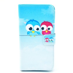 Samsung Galaxy S5Mini  Folio Patterned Stand PU Leather Card Pocket Wallet Case -blue bird
