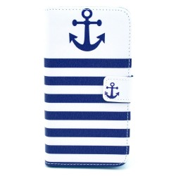 Samsung Galaxy S5Mini  Folio Patterned Stand PU Leather Card Pocket Wallet Case -blue stripe with Anchor