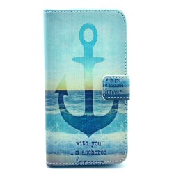Samsung Galaxy S5Mini  Folio Patterned Stand PU Leather Card Pocket Wallet Case - Blue Anchor