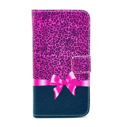 Samsung Galaxy S5Mini  Folio Patterned Stand PU Leather Card Pocket Wallet Case - Pink Ribben with Leopard