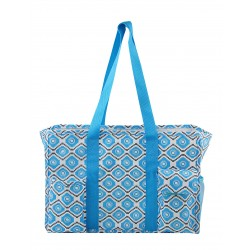 "T19-18-TG 19"" Grey Blue Geometric Patterns 7 pockets tote bags, Utility bags, Diaper bag and Market bag"