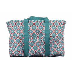 "T19-18-TP 19"" Turquoise Pink Geometric Patterns 7 pockets tote bags, Utility bags, Diaper bag and Market bag"