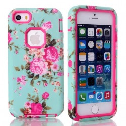 iPhone 5 / 5S Pink Roses Heavy Duty Hybrid Shock Proof Case-Pink