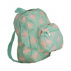 B5-15-TO Green Pink Quatrefoil Print Mini Backpack