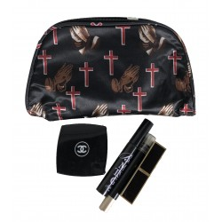 C10-16 Black Background Cross and pray hand Travel and Cosmetic Bag