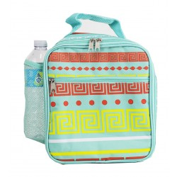 CC17-16-TO Superior Turquoise Greek Key Pattern Insulated Lunch Tote Bag