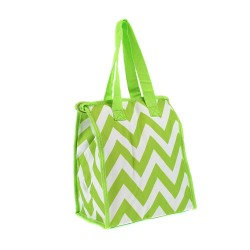CC18-601-LG Chevron Pattern Insulated Lunch Tote Bag Lime Green / White