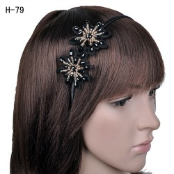 H-79 Fancy Glass Crystal Blossoms Headband-Gold / Black