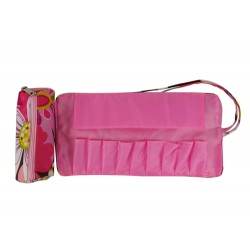 HY010-1004 Mini Cosmetic Brush Pouch and Organizer Bag Pink Flower