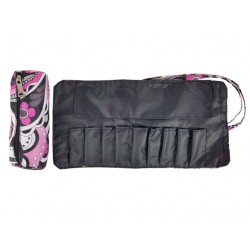 HY010-1005 Mini Cosmetic Brush Pouch and Organizer Bag Purple Flower