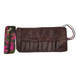 HY010-1007 Mini Cosmetic Brush Pouch and Organizer Bag Pink Green Flower