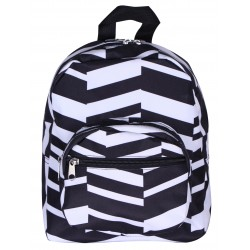 NB5-36-YB Black white Geometric Print Mini Backpack