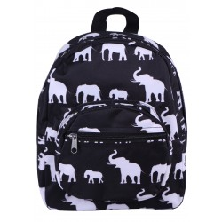 NB5-E-BW-1  Black White Elephant Print Mini Backpack