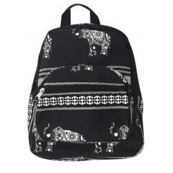 NB5-ELE-BW  Black White Elephant Print Mini Backpack