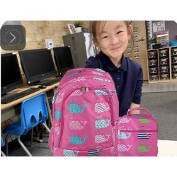 NBN-27-P Big Pink Background Multi Whale Backpack